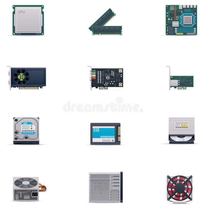 Grupo do ícone das peças do computador de vetor ilustração royalty free