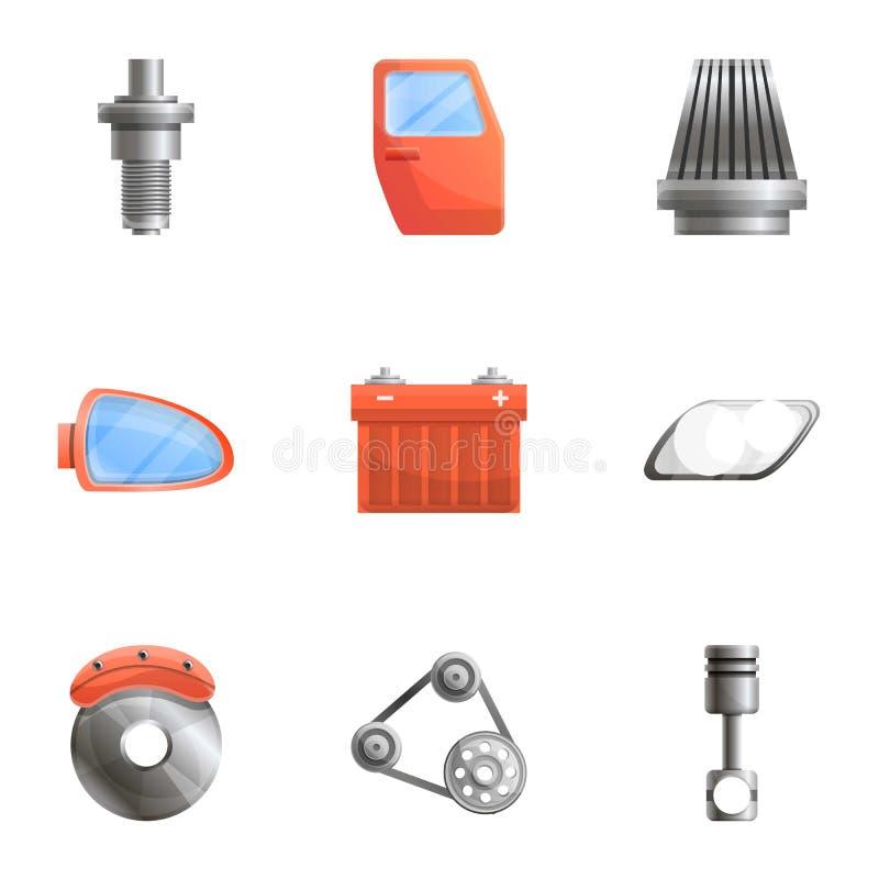 Grupo do ícone das peças sobresselentes do carro, estilo dos desenhos animados ilustração do vetor