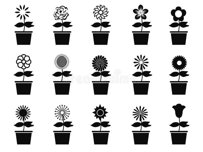 Grupo do ícone das plantas da flor do potenciômetro ilustração royalty free