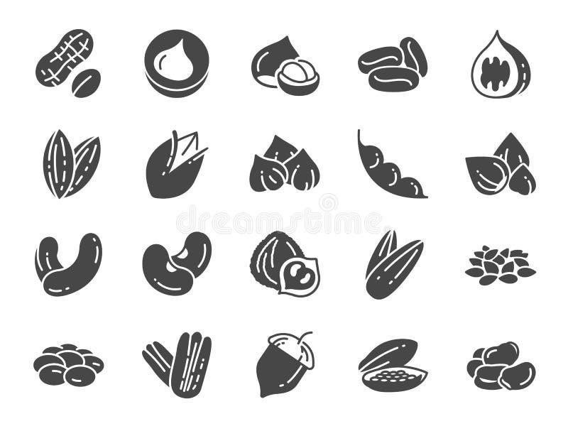 Grupo do ícone das porcas, das sementes e dos feijões Ícones incluídos como a noz, o sésamo, feijões verdes, café, amêndoa, noz-p ilustração stock