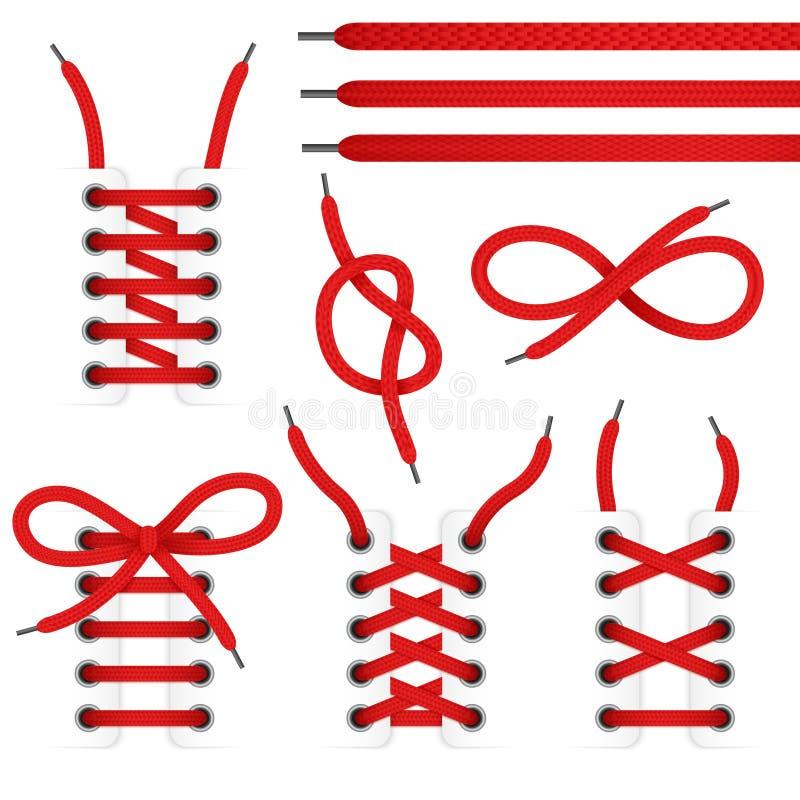 Grupo do ícone das sapatas do laço ilustração stock
