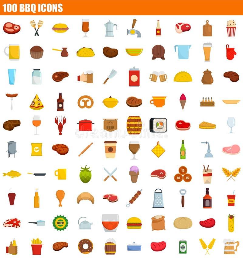 grupo do ícone de 100 BBQ, estilo liso ilustração royalty free