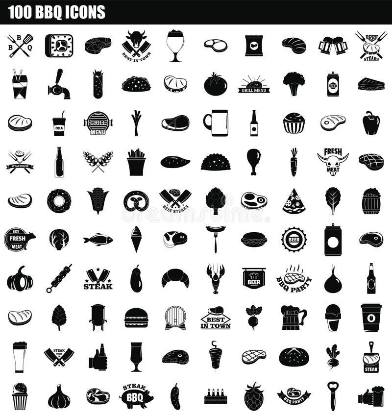 grupo do ícone de 100 BBQ, estilo simples ilustração do vetor