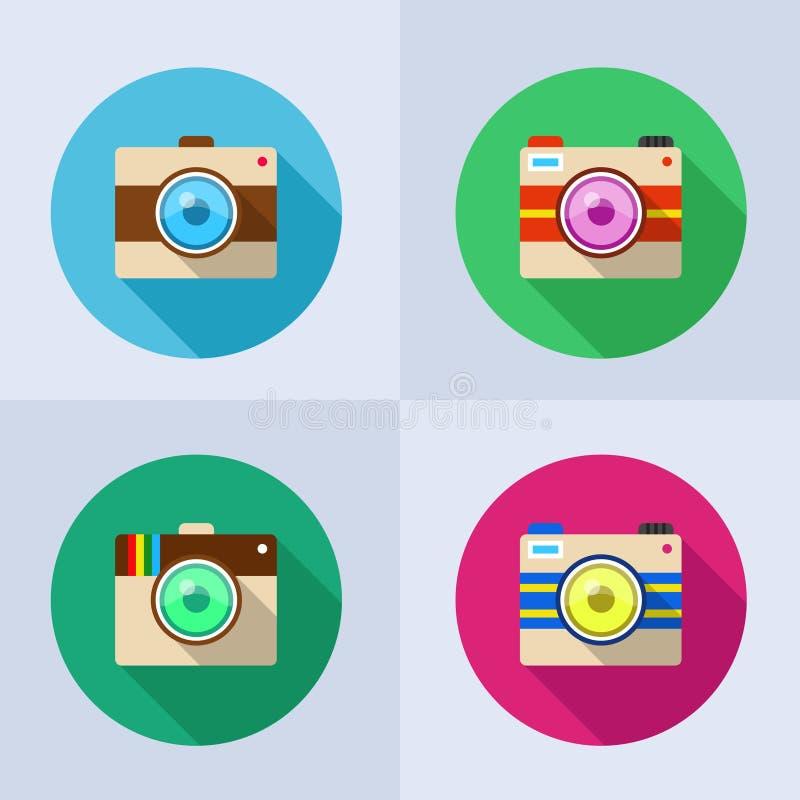 Grupo do ícone de câmera com sombra longa fotografia de stock royalty free
