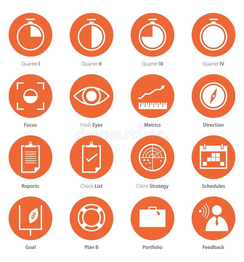 Grupo do ícone de carreira do negócio, introduzindo no mercado no projeto liso imagens de stock