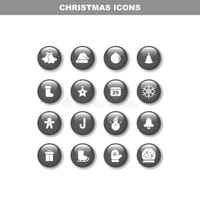 Grupo do ícone de Chirstmas ilustração do vetor
