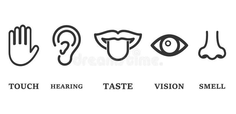 Grupo do ícone de cinco sentidos humanos: visão (olho), cheiro (nariz), ouvindo-se (orelha), toque (mão), gosto (boca com língua) ilustração royalty free
