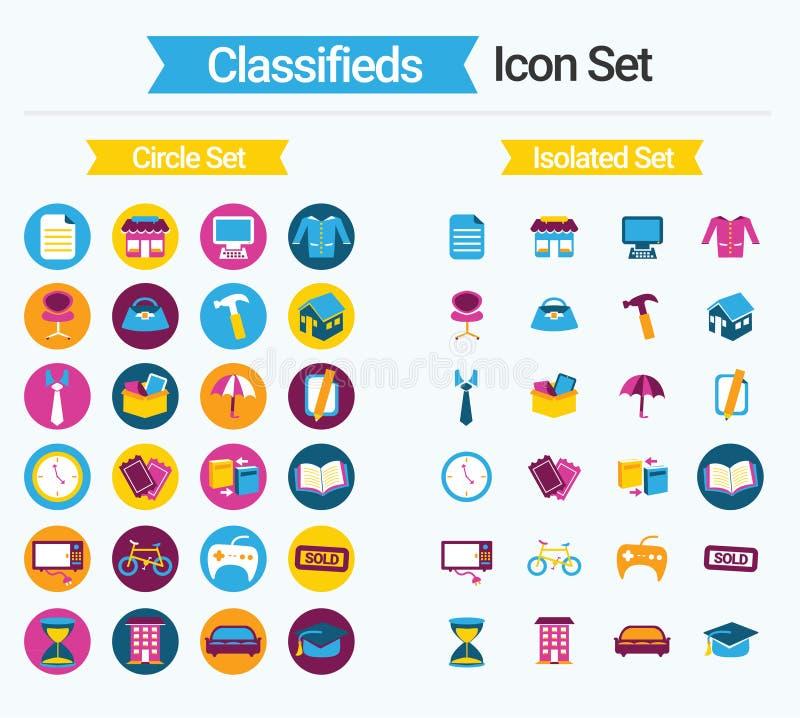 Grupo do ícone de Classifieds ilustração stock