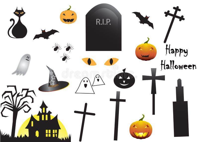 Grupo do ícone de Dia das Bruxas ilustração stock