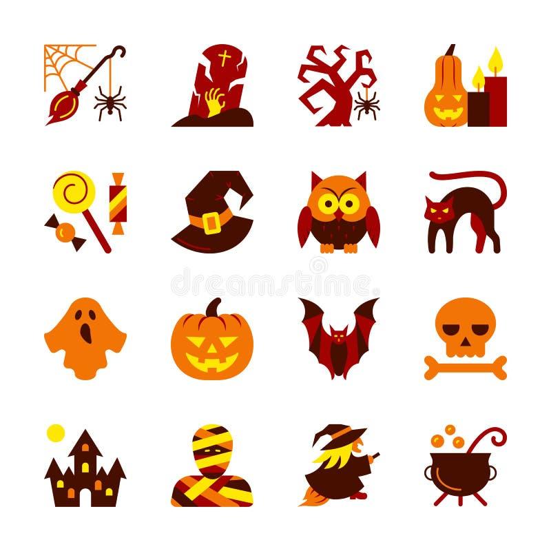Grupo do ícone de Dia das Bruxas Coleção lisa do símbolo do projeto ilustração royalty free