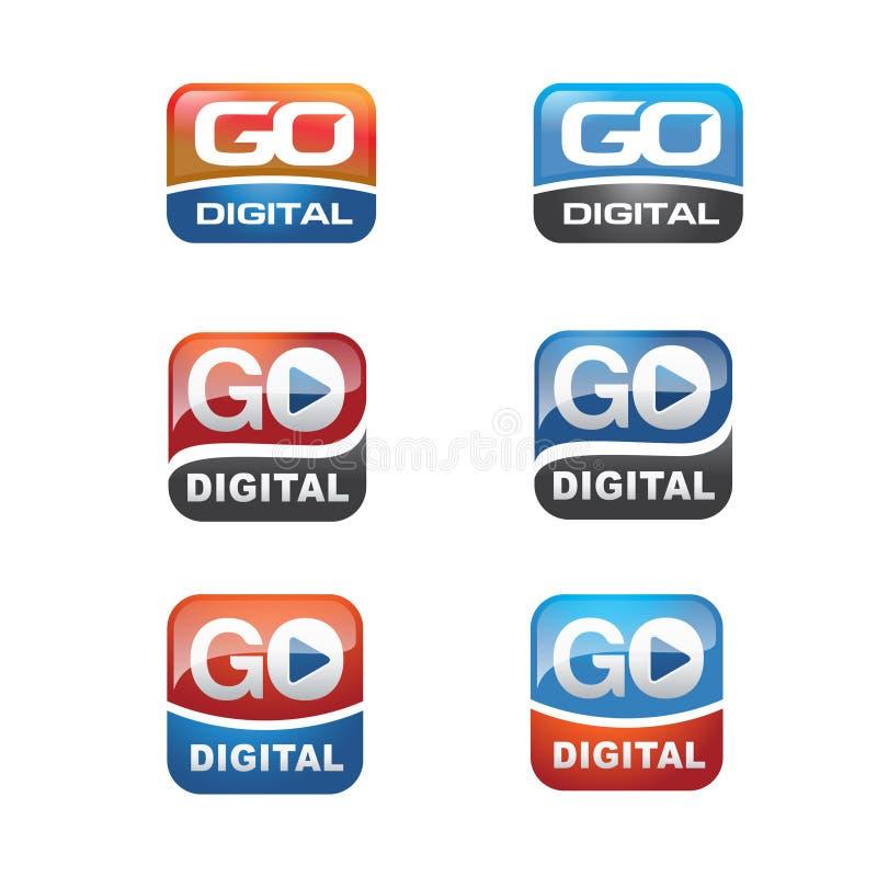 Grupo do ícone de Digitas ilustração royalty free