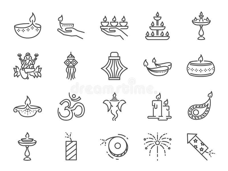 Grupo do ícone de Diwali Os ícones incluídos como Deepavali comemoram, festival claro, vela, lâmpada, celebração hindu, hinduism  ilustração do vetor