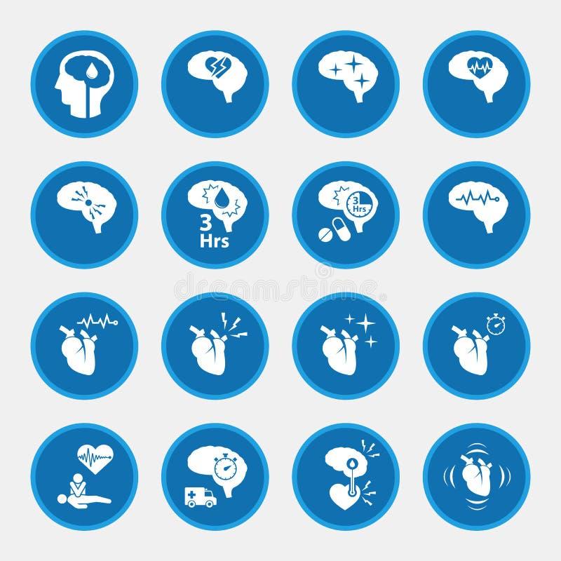Grupo do ícone de doença do curso para infographic ilustração stock