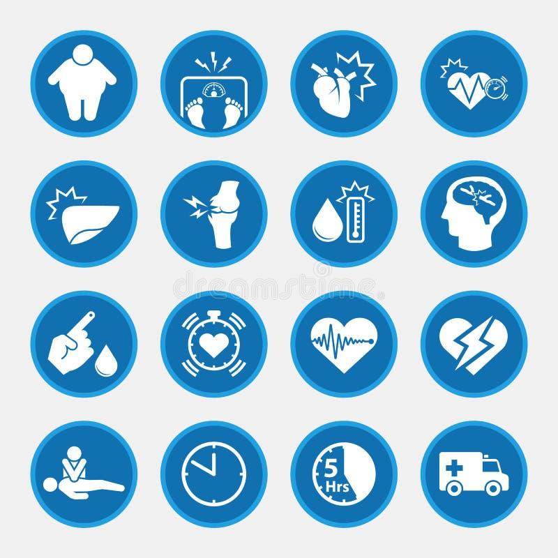 Grupo do ícone de doenças relacionadas da obesidade ilustração do vetor