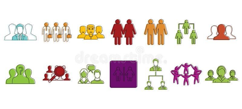 Grupo do ícone de grupo dos povos, estilo do esboço da cor ilustração stock