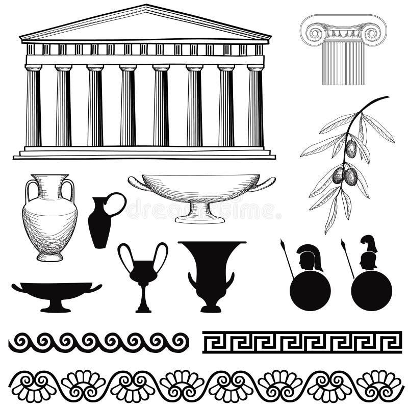 Grupo do ícone de Grécia Arqueie, ornamento sem emenda, coluna, vaso, sinais das azeitonas ilustração royalty free