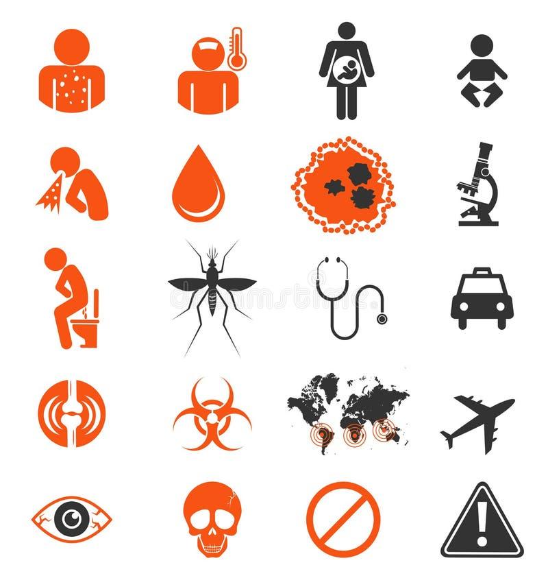 Grupo do ícone de infecção do vírus de Zika ilustração do vetor