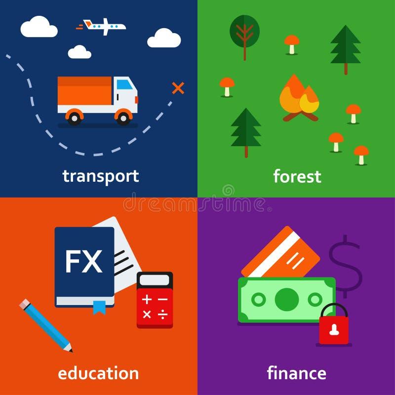 Grupo do ícone de Infographic de transporte educação da floresta e tema da finança foto de stock
