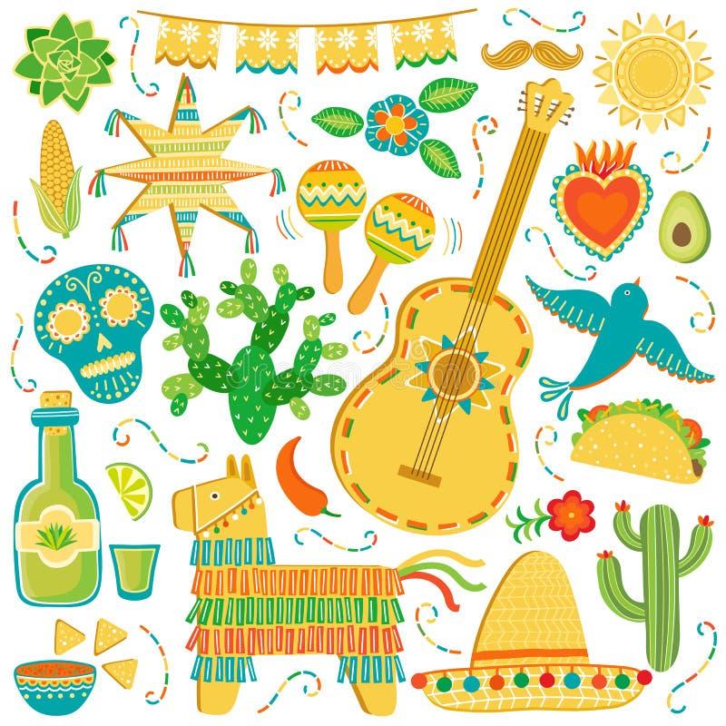 Grupo do ícone de México do vetor Ilustração mexicana isolada no branco ilustração stock