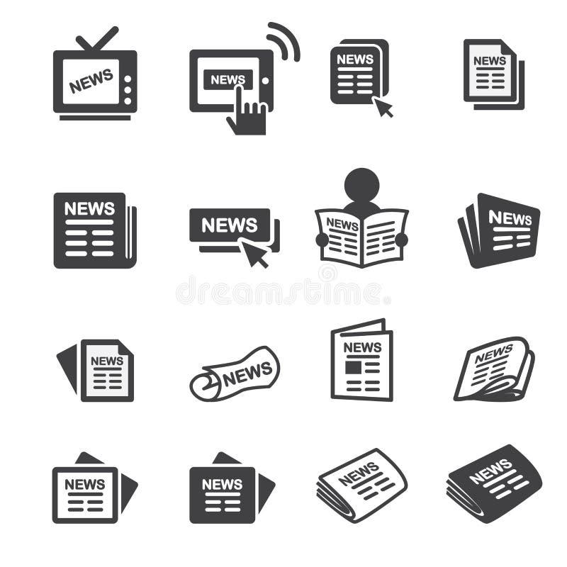 Grupo do ícone de Newspeper ilustração do vetor