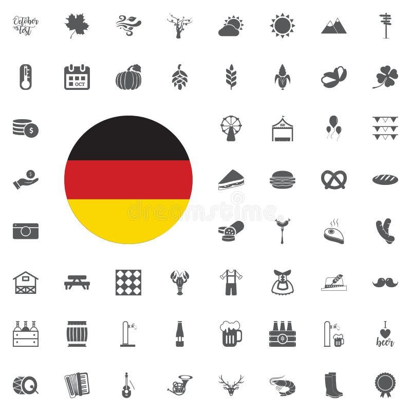 Grupo do ícone de Octoberfest Símbolos alemães do alimento e da cerveja isolados no fundo branco Ilustração do vetor Fla do festi ilustração do vetor