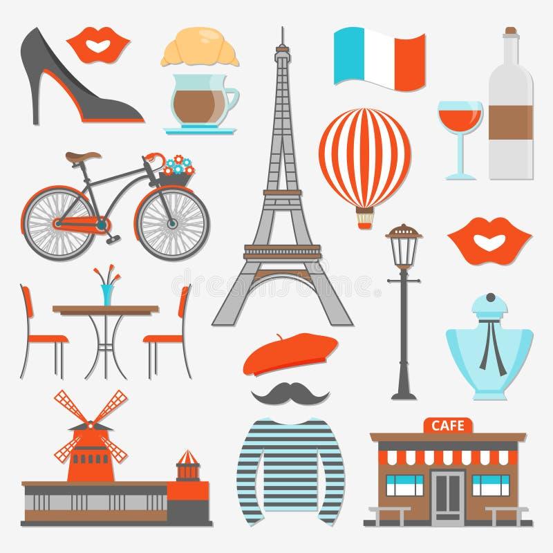 Grupo do ícone de Paris ilustração royalty free