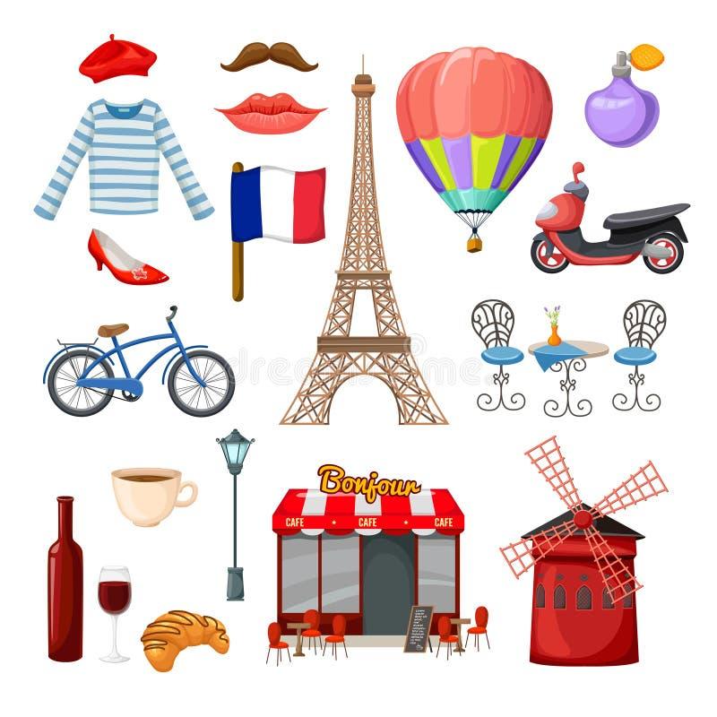 Grupo do ícone de Paris ilustração do vetor