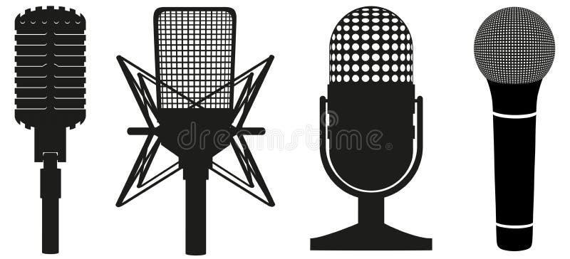 Grupo do ícone de silhueta preta dos microfones ilustração do vetor