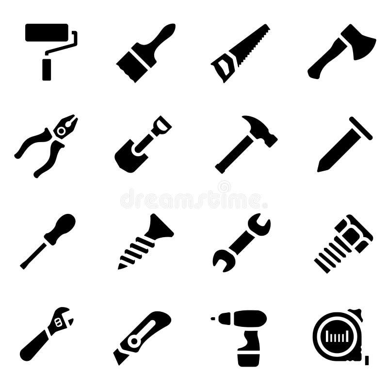 Grupo do ícone de silhueta simples preta de ferramentas do trabalho no projeto liso ilustração royalty free