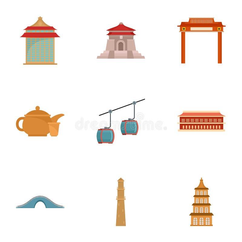 Grupo do ícone de Taiwan, estilo liso ilustração stock