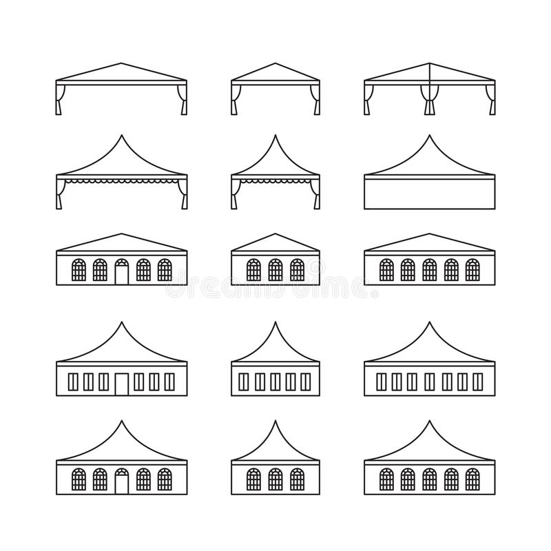 Grupo do ícone de vários tipos barraca do evento Barraca de dobramento, telhado da lona, ilustração do vetor