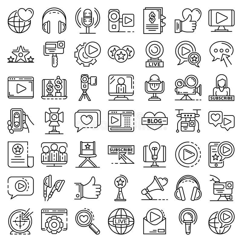 Grupo do ícone de Vlog, estilo do esboço ilustração stock