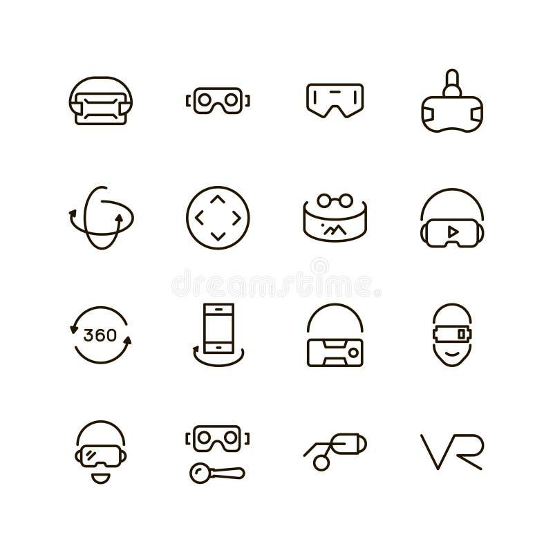 Grupo do ícone de VR ilustração stock