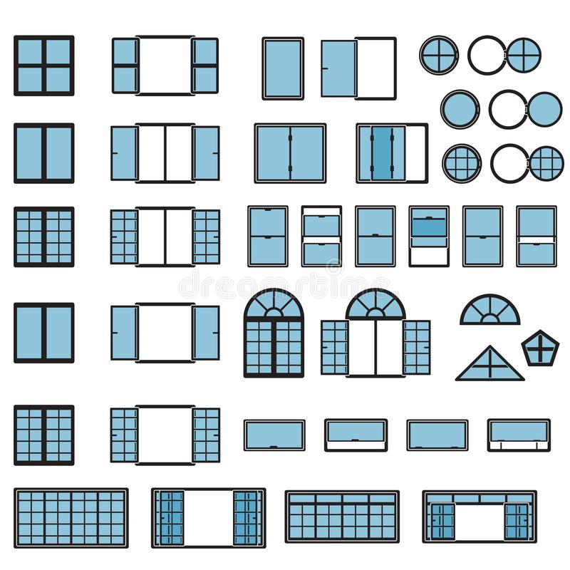 Grupo do ícone de Windows Tipos da janela ajustados Vetor ilustração royalty free