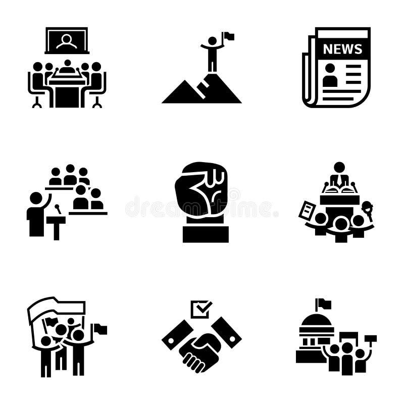 Grupo do ícone do debate político, estilo simples ilustração stock