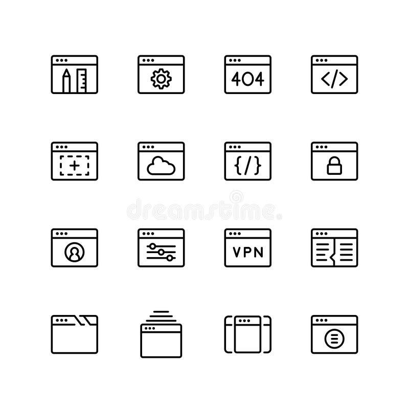 Grupo do ícone do desenvolvimento do App ilustração do vetor