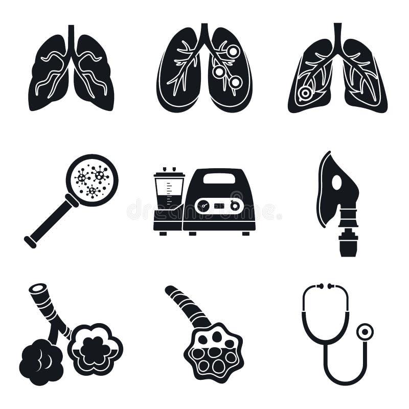 Grupo do ícone do dia da pneumonia, estilo simples ilustração do vetor