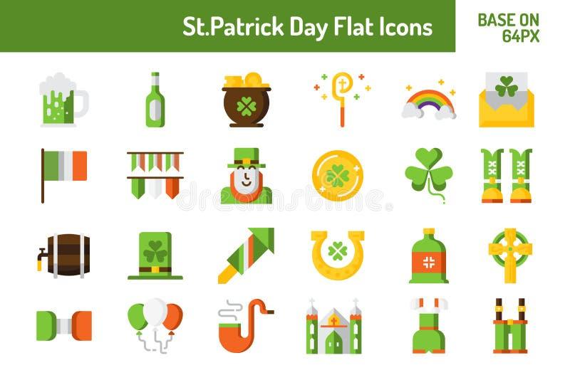 Grupo do ícone do dia de StPatricks Base lisa do ícone no pixel 64 com projeto perfeito do pixel ilustração do vetor