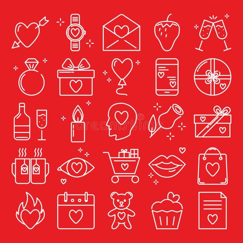 Grupo do ícone do dia de Valentim na linha estilo ilustração do vetor