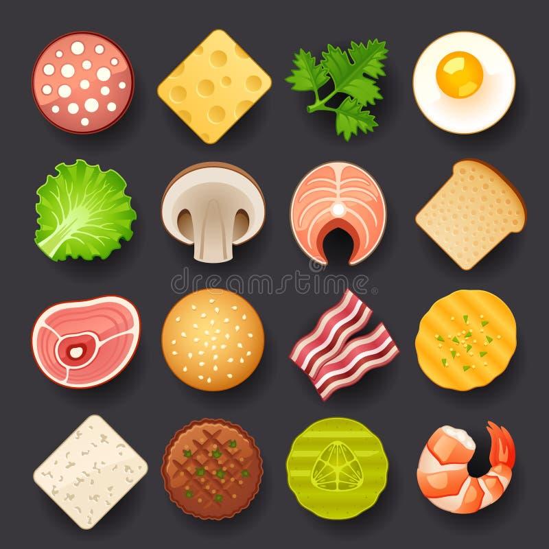 Grupo do ícone do alimento ilustração do vetor
