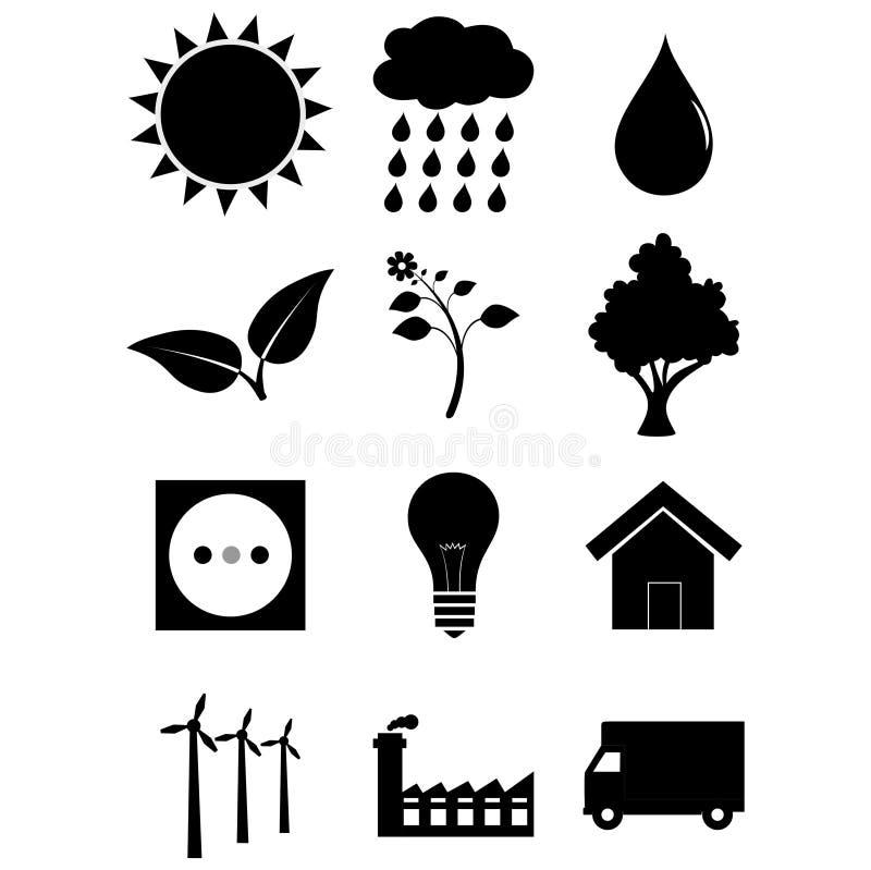 Grupo do ícone do ambiente ilustração do vetor