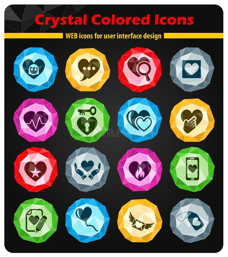 Grupo do ícone do amor do coração ilustração stock