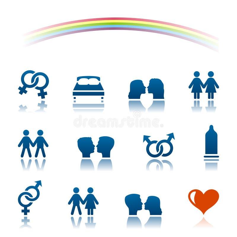 Grupo do ícone do amor e do sexo ilustração do vetor