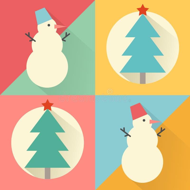 Grupo do ícone do ano novo feliz de projeto liso: árvore de Natal e snowm ilustração stock