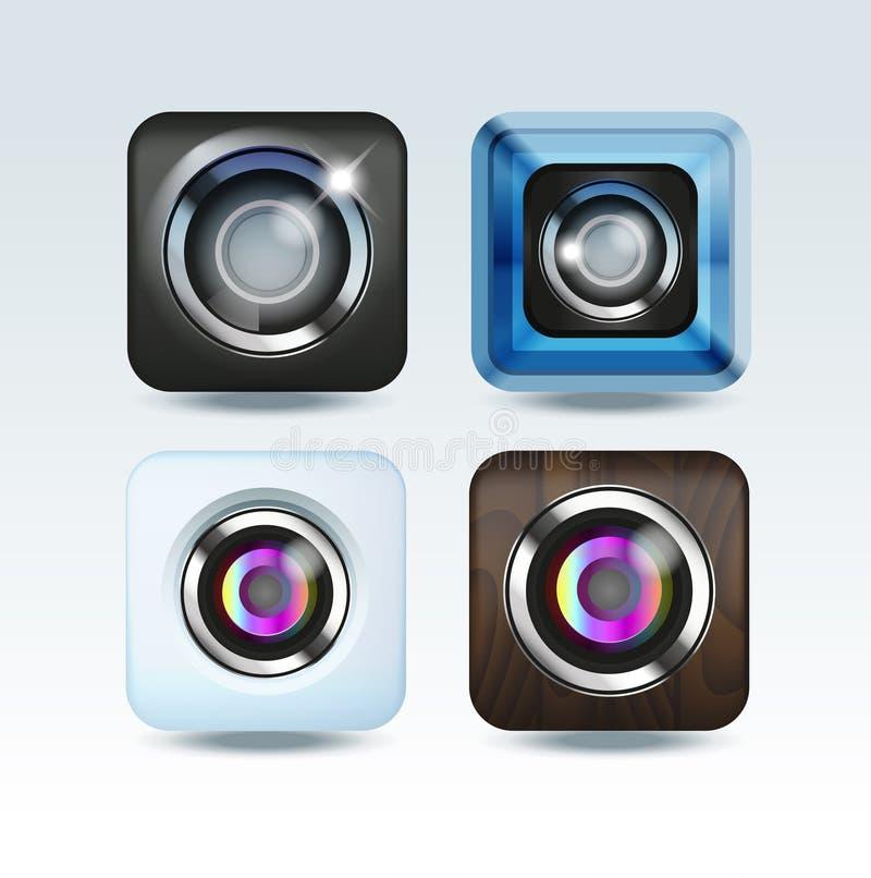 Grupo do ícone do app da foto da câmera ilustração do vetor