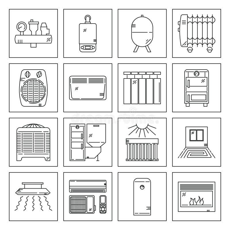 Grupo do ícone do aquecimento da casa ilustração stock