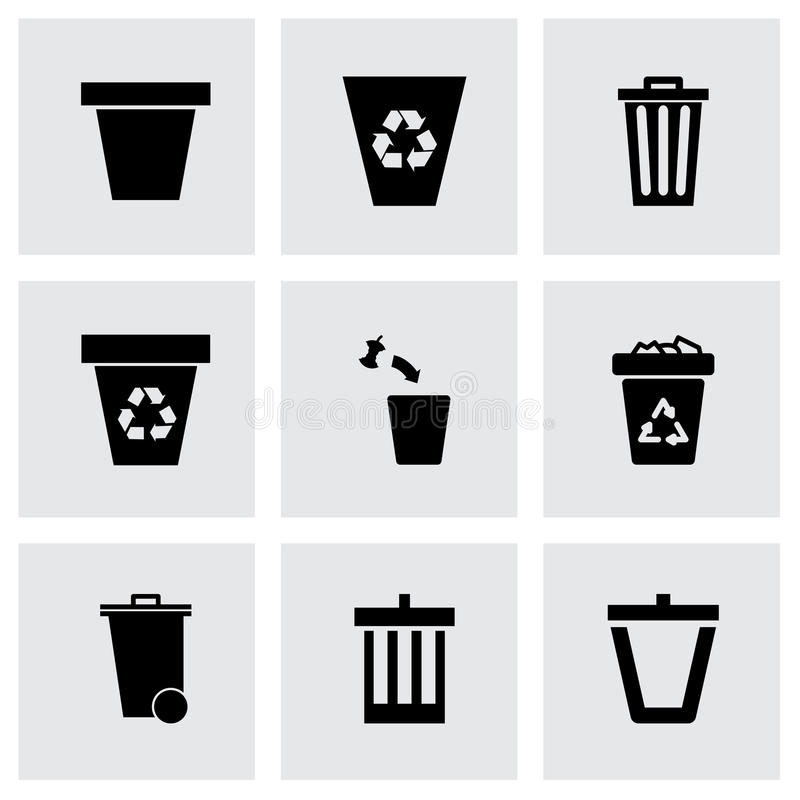 Grupo do ícone do balde do lixo do vetor ilustração stock