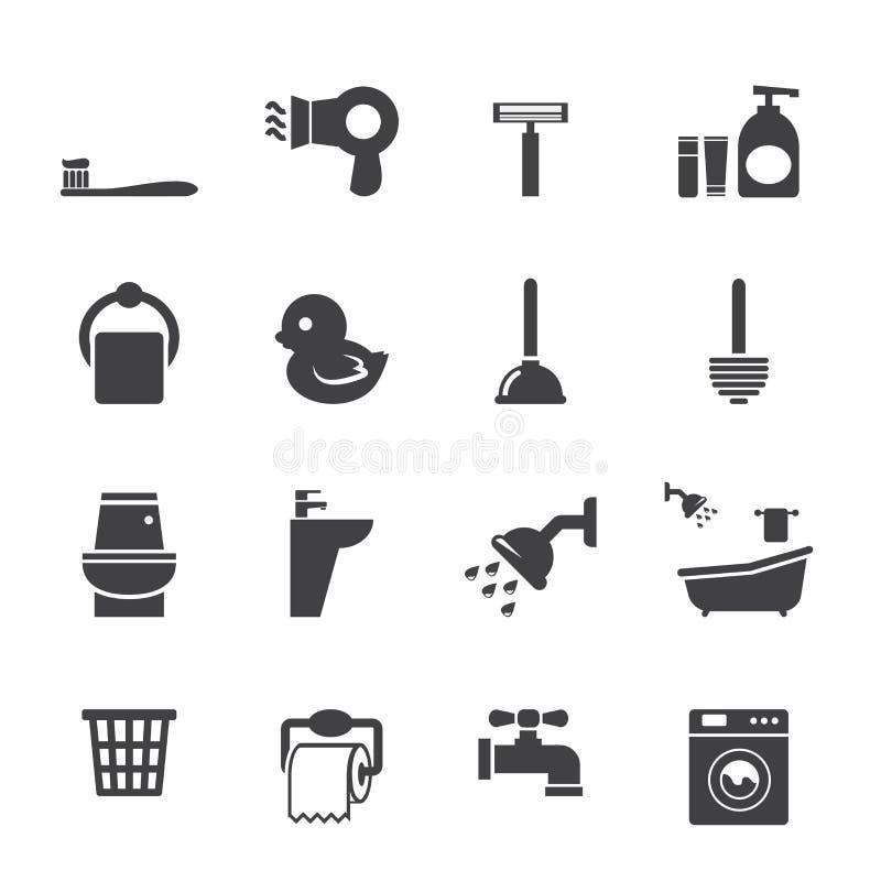 Grupo do ícone do banheiro ilustração do vetor