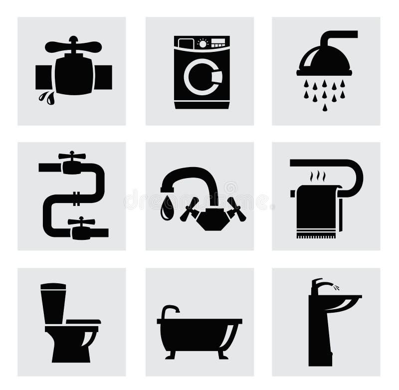 Grupo do ícone do banheiro do vetor ilustração royalty free