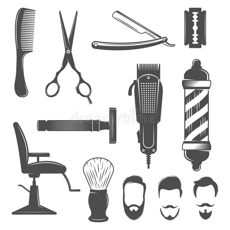 Grupo do ícone do barbeiro ilustração do vetor